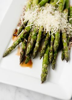 Baked Bree   Grilled Asparagus with Balsamic and Parmesan