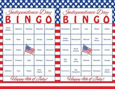 60 of July Printable Bingo Cards - Patriotic 50 US States Theme Stars & Stripes Independence Day Party Game Red White and Blue on Etsy 4th Of July Trivia, 4th Of July Games, 4th Of July Party, July 4th, Party Activities, Party Games, Summer Activities, Independence Day Game, Independence Day Activities