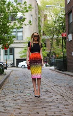 pencil skirt, black top. street @roressclothes closet ideas #women fashion  outfit #clothing style apparel