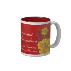 Primula Greatest Grandma 70th birthday mug. Fine art and design by www.sarahtrett.com
