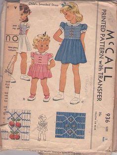 MOMSPatterns Vintage Sewing Patterns - McCall's 936 Vintage 40's Sewing Pattern CHEERFUL Baby Girls Shirley Temple Era Smocked Dress, 3 Styles, Cherries and Beaded Smocking Transfer Size 1