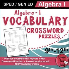 Vocabulary for Algebra 1 Vocabulary Practice, Vocabulary Activities, Teaching Activities, Vocabulary Words, Teaching Resources, Common Core Algebra, Algebra 1, Math Assessment, Teacher Blogs
