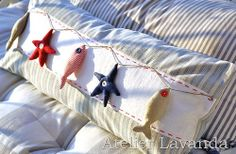 Fish Crafts, Beach Crafts, Summer Crafts, Diy And Crafts, Nautical Cushions, Seaside Theme, Craft Stalls, Sewing Pillows, Star Ornament