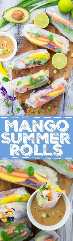 These rice paper rolls with mango and mint are the perfect light dinner for hot summer days. They're healthy, fresh, low in calories, and super delicious! Plus, wrap wraps they're vegan and gluten-free. Vegan Appetizers, Vegan Snacks, Healthy Snacks, Raw Food Recipes, Vegetarian Recipes, Cooking Recipes, Healthy Recipes, Rice Paper Rolls, Snacks Saludables