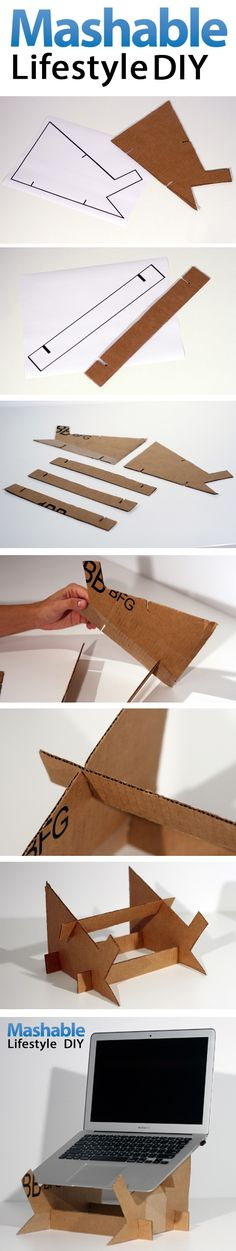 Lifestyle DIY: Create Your Own Cardboard Laptop Stand - Ideas of Laptop Stands - Lifestyle DIY Cardboard Laptop Stand. Perfect as the laptop heats up easily. don't want to burn the table! Cardboard Furniture, Cardboard Crafts, Diy Furniture, Paper Crafts, Cardboard Playhouse, Diy Laptop Stand, Tablet Stand, Carton Diy, Laptop Stand