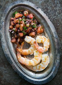 Grilled Shrimp with Italian Tomato Salsa ~ Grilled shrimp with an Italian tomato salsa of fresh, uncooked tomatoes, black olives, garlic and parsley. ~ SimplyRecipes.com