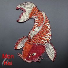 Japanese Koi patch Brocaded Carp Embroidered Patch Sew on patch Fish Applique