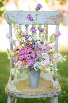 """Shabby French-blue wood chair (color inspiration ~ """"blue into lavender"""")..."""
