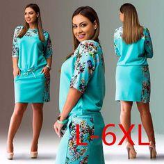 5XL 6XL Summer Dresses Big Size 2017 Fashion Elegant Women Half-Sleeve Print Dress Plus Size Casual Robe Office Dress Vestidos