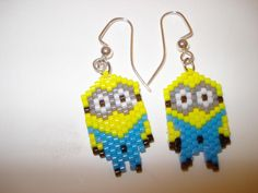 Earrings Delica Seed Bead Two Eyed Minion  by BreitWerk on Zibbet