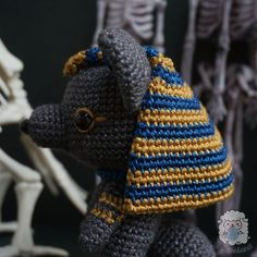 CROCHET PATTERN: Anubis Prince of Egypt | Etsy Aries Daily, Prince Of Egypt, Gold Embroidery, Anubis, Stitch Markers, Color Combos, Crochet Hooks, Household, Crochet Patterns