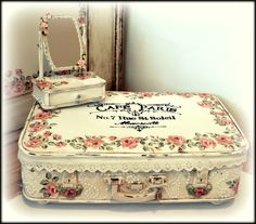 suitcase and jewel boxes - my shabby white home