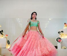 Beautiful bride in Mrunalini Rao. Beautiful blush pink color lehenga and sea green color blouse with net dupatta. Lehenga and blouse with hand embroidery work. Half Saree Lehenga, Lehenga Skirt, Lehnga Dress, Lehenga Dupatta, Green Lehenga, Indian Bridal Outfits, Indian Bridal Lehenga, Indian Dresses, Wedding Outfits