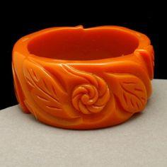 """Carved Orange Celluloid Bangle Bracelet Vintage 1 3/4"""" Wide"""