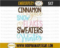 THANKSGIVING FREEBIE 11/12 ONLY Cinnamon Spice Snow Flakes Sweaters Winter 4X4 5x7 6x10 - HoopMama Designs, LLC