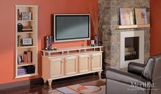 Merillat Classic Spring Valey Entertainment Center in Natural Maple with a Natural Java Accent. Home Entertainment Centers, Entertainment Wall, Living Room Cabinets, Bath Cabinets, Plasma Tv Stands, Spring Valley, Room Accessories, Kitchen And Bath, Design Inspiration