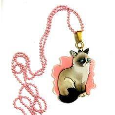Grumpy Cat Necklace, Cool Funny Acrylic Plastic Animal Colorful... ($27) via Polyvore featuring jewelry, necklaces, long pendant necklace, ball chain necklace, multi color statement necklace, colorful statement necklace and long pink necklace