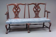 Double chair-back settee about 1770–80  Object Place: Boston, Massachusetts  Mahogany, pine; new upholstery