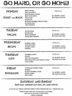 work out routines schedules