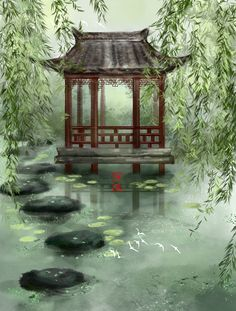 Asian Landscape, Fantasy Landscape, Landscape Art, Landscape Paintings, Fantasy Art, Chinese Painting, Chinese Art, Kyoto, Chinese Background