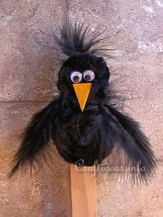 Chenille Crow Plant Stick or Bookmarker