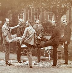 VINTAGE PHOTOGRAPHY: Royal Group on Hesse in 1899 Nicholas II of Russia , Empress Alexandra , Grand Dukes Boris , Andrei and Kirill of Russia , Grand Duke Ernst and Grand Duchess Victoria Melita of Hesse and Prince Nicholas of Greece via