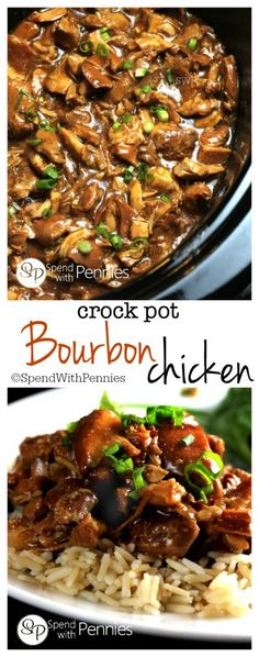 This delicious Bourbon Chicken recipe is one of our favorites! This is great to … This delicious Bourbon Chicken recipe is one of our favorites! This is great to come home to on a chilly day and is perfect served over rice! Crock Pot Food, Crockpot Dishes, Crock Pot Slow Cooker, Slow Cooker Recipes, Cooking Recipes, Healthy Recipes, Crockpot Meals, Cooking Tips, Slow Cooking
