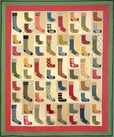 """""""Lost Socks"""" quilt pattern by Teri Christopherson at Black Mountain Quilts: cute idea for a reclaimed clothing quilt"""