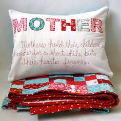 Mother pillow and colourful quilt...