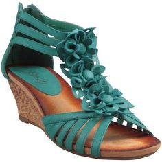 Refresh by Beston Women's 'Ginny-01' Turquoise T-Strap Wedge Sandals ($70) ❤ liked on Polyvore
