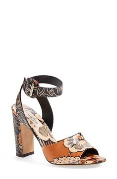 Free shipping and returns on Valentino Print Block Heel Sandal (Women) at Nordstrom.com. A gorgeous floral print lends bohemian allure to a striking ankle-strap sandal lifted by a blocky, architectural heel.