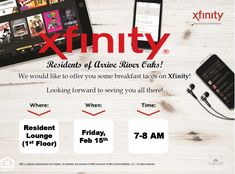 Enjoy some delicious breakfast courtesy of Xfinity this Friday. A perfect way to kick off the holiday weekend! Pet Friendly Apartments, Two Bedroom Apartments, Breakfast Tacos, Apartment Communities, Looking Forward To Seeing You, Houston Tx, Friday, River, 2 Bedroom Apartments