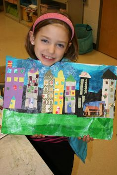 Bearden cityscape, Love the idea of using wallpaper and other collage kinds of paper to create this cityscape