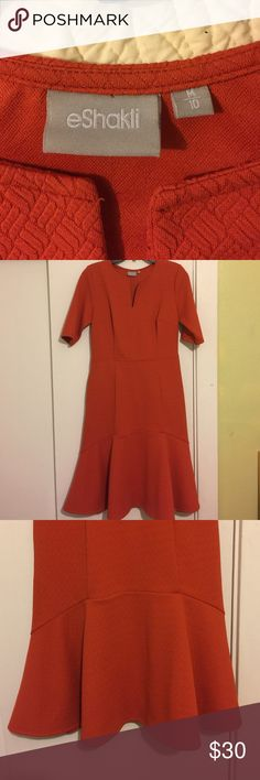 Eshakti orange jacquard dress w/flounce hem. 10. NWOT, tried on once upon arrival, but never worn. I bought this 3/4 sleeve dress last year because I loved the cut and color. (It's a harvest, dark pumpkin orange.) Sadly, it did not fit me, and it's been hanging lonely in my closet ever since. Please let my gamble and loss be your gain. ❤️ eshakti Dresses