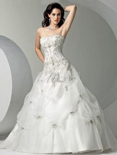 2014 Wedding Gowns with Bling   ... line Strapless Beading Sleeveless Chapel Train Organza Wedding Dresses