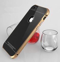 iPhone 6 6S (4,7 Zoll) Hülle - G-i-Mall Hybrid Handy Tasche Aluminium Metal Frame Bumper + Stoßfest Hartglas 9H Back Cover Schutz hülle für Apple iPhone 6 6s 4.7 Smartphone mit Standfunktion (Gold & Weiß): Amazon.de: Elektronik