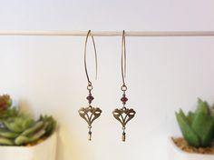 """╚ AMBROISINE ╝ Boucles d'oreille inspiration """"Art Nouveau"""" ─ bronze et prune"""