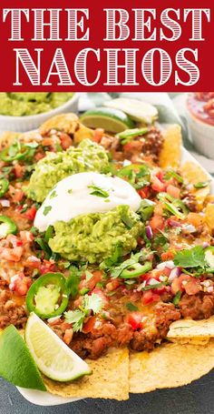 These classic Tex-Mex nachos are loaded to the MAX! Avoid soggy nachos by briefly baking them before topping with cheese seasoned beef refried beans guacamole and salsa. They're a great snack party appetizer or even casual weeknight dinner. Beef Nachos, Mexican Food Recipes, Beef Recipes, Cooking Recipes, Recipies, Beef Meals, Turkey Recipes, Tex Mex, Best Nacho Recipe