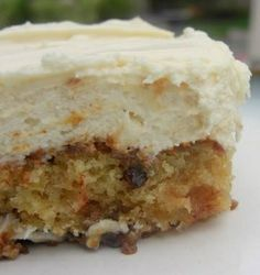Recipe for Pineapple Pecan Cake with Cream Cheese Frosting - The simplest of cakes with the most ginormously delicious taste.