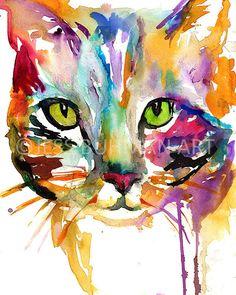 """Print of Watercolor Painting """"Tabby Cat"""" 8 x 10 Original Watercolor Painting Pink Fuschia Orange Yellow Tan Brown"""
