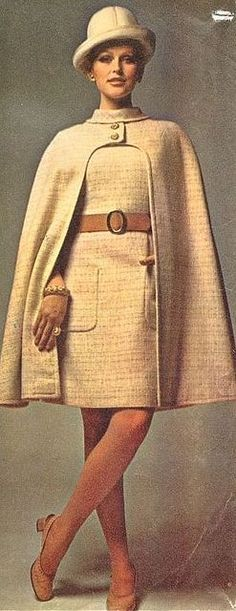 Carven Model: Margrit Ramme is wearing a creation by Carven.French Vogue,August 1969 vintage fashion style color photo print ad model magazine designer 60s 70s cream white wool suit dress cape hat
