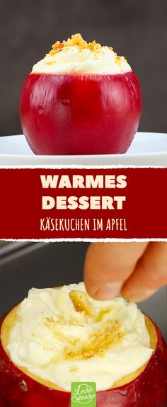 Baked apple or cheese cake for dessert? How about both .- Baked apple or cheese cake for dessert? How about both? This is a recipe for warm cheesecake in the apple, easy to copy. Also for the Advent and Christmas a wonderful dessert. Dessert Simple, Christmas Desserts, Christmas Baking, Christmas Cheesecake, Christmas Recipes, Chocolate Navidad, Easy Desserts, Dessert Recipes, Chocolate Cake Recipe Easy