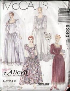 McCalls 6330 1990s Alicyn Wedding Dress Pattern B34 Uncut