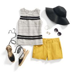 I like this look.  I live in shorts.  I would not normally buy yellow to wear near my face, but I do like this combination.