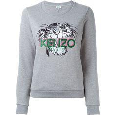 Kenzo Jungle Kenzo Sweatshirt ($195) ❤ liked on Polyvore featuring tops, hoodies, sweatshirts, grey, ribbed top, grey sweatshirt, long sleeve tops, kenzo sweatshirt and grey long sleeve top