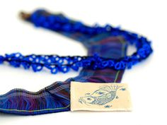 Dark Blue Lace Necklace With Antique Motif Pendant by PinaraDesign, $40.00