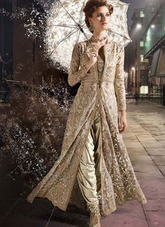 Zoya Gold Color Dhoti Style Jacket Suit
