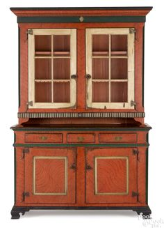 "Pook & Pook October. 3, 2015. Lot 433.    Estimated: $5,000 - $10,000.  Realized Price: $15,990.  Pennsylvania painted pine two-part Dutch cupboard, ca. 1790, retaining a later painted surface, 94 1/2"" h., 60"" w. Provenance: Dittmar collection, Freehold, New Jersey."