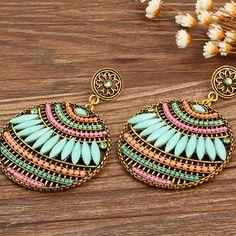 Colorful Ethnic Boho Bohemian Earrings Round Temperament Joker Indian Earrings For Women Fine Jewelry 8669
