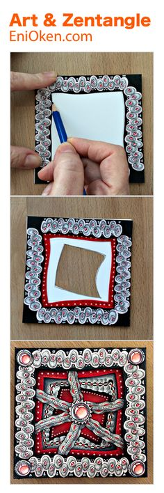 Learn how to create gorgeous 3D Zentangle tiles shadow boxes • enioken.com